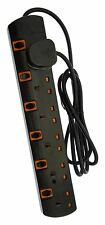 Black 6 Way 5m Gang Switched Surge Protected Extension Lead with Led indicators