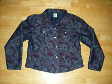 Womens ROUGHRIDER LS Button Floral Jean Jacket Coat Sz L