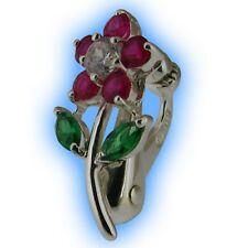 Fake Belly Button Ring Silver Non Piercing Navel Clip Fuchsia Daisy Stem Flower