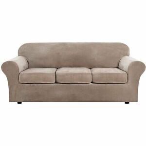 H Versailtex Velvet Plush 4 Piece High Stretch Sofa Slipcover  Open