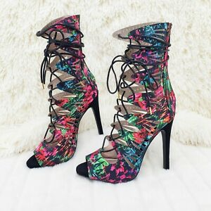 Colorful Qupid Black Multi Print Open Front Lace Up Strappy High Heel Shoe