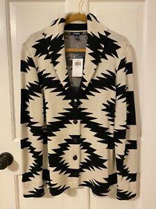 NWT Chaps Ralph Lauren Blk & Wht Southwestern Print  Cotton Sweater Jacket L