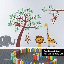 Kids Jungle Nursery Tree Animals Monkey Vinyl Wall Stickers Wall Decals r-PD267