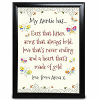 Details about  /Personalised Birthday Gifts Aunt Auntie Framed Card Present Keepsake Owls