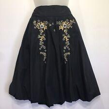 Odille Anthropologie Black Skirt Size 4 Floral Embroidered Beaded Bubble Hem