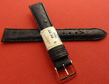 ZRC Made in France Black GENUINE Ostrich 16mm Watch Band Gold Tone Buckle $95.95
