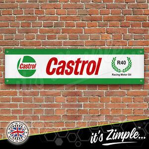 CASTROL R40 RACING MOTOR OIL Garage Workshop Banner PVC Sign Display Motorsport