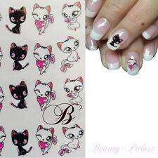 Nagel Sticker Katze Nailart Tattoo Katzenpaar Nagelaufkleber mit Kätzchen B1291