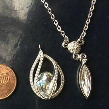 Swarovski Swan signed Brilliant Teardrop Pendant Necklace Encage Pearl Jewel Lot
