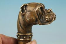 Chinese Bronze Carving Dog Collect Cane Walking Stick Head Statue