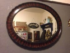 Large Oval Framed Vintage Mirror With Thick Bevelled Glass Art Deco Rosewood