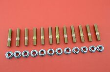 10mm Exhaust Studs & Serrated Nuts M10x1.25 Manifold Flange 12 studs 12 nuts