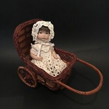 Adorable Little 19cm Vintage Bisque Doll Ceramic Jointed Wicker Pram Silky Knit