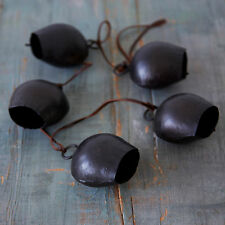 Fair Trade Handmade Rustic String of Five Charcoal Black Cow Bells