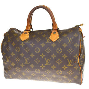 Authentic LOUIS VUITTON Speedy 30 Hand Bag Monogram Leather Brown M41526 61MD019