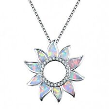 Women Sun flower opal silver Pendant Chain Necklace Mother Mother's Day Gift New