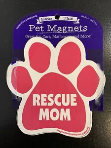 Dog Magnetic Paw Decal Car - Rescue Mom - Made In USA