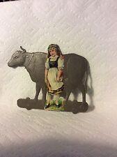 OLD GERMAN DRESDEN PLATFORM COW TOY & GIRL CHRISTMAS ORNAMENT