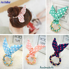 Cute Polka Dots Bunny Ears Wire Bun Tie Hair Scrunchie Band Ponytail Holder Girl