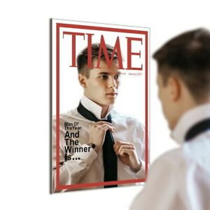 Time Magazine Cover Hand Made Modern Wall Hanging Mirror Home Bed room Bar Décor