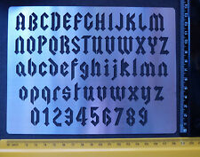 Stainless/Steel/stencil/Oblong/Angular/Alphabet/Numbers/Gothic/Emboss/REDUCED