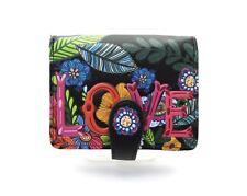 SHAGWEAR Wallet Black Snap Tab French Purse Small Wallet ~ LOVE Floral Design