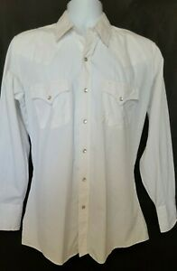 Ely Plains Vintage Mens Western Shirt Sz 15 Pearl Snap Cowboy Long Sleeve White