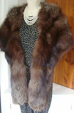 "Vintage 1940s S.Zuckerman Durham,NC 77"" Brown Silver Tip Fox Stole Wrap Lined"
