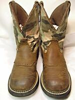 Justin Gypsy Womens Cowboy Boots Size 7.5 B Tan leather/camo shaft L9913 #28 JB