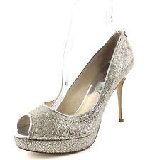 Michael Kors York Silver Metallic Open Toe Platform Pumps Women's Size 8.5 M*