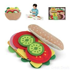 Toddlers Role Play Felt Food Sandwich Set Themed Chef Server Customer Kids Child