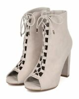New Women Wild Diva Morris-12 Faux Suede Peep Toe Lace Up Block Heel Bootie
