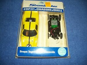 Vintage Strombecker #9520 Chassis & Shell Yellow Ford GT 1/32 Scale Slot Car