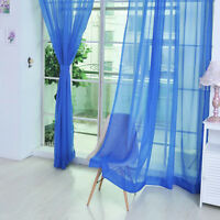 2Pc Home Floral Tulle Voile Door Window Curtain Drape Panel Sheer Scarf Valances