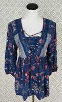 Womens Signature Studio 3/4 Sleeve Blue Floral Dress Top Blouse Shirt Sz XL New