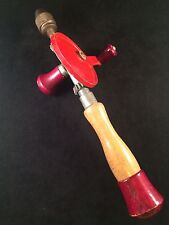 Antique Egg Beater Hand Drill w 3 Bits Removable End Pat No Marked 476297 JAPAN