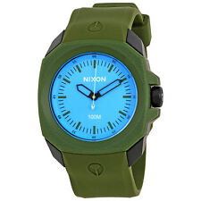 Nixon Ruckus Blue Dial Mens Green Rubber Watch A3491536