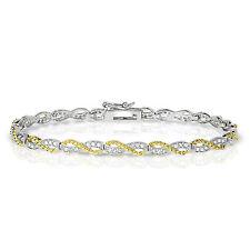 "Sterling Silver 7"" Two-Tone Infinity Diamond Bracelet"