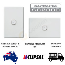 Clipsal Slimline Impress Push Button 1 Gang Light Switch (Blue LED)