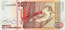 Cape Verde 1000 Escudos 2002 Unc Pn 65s Specimen