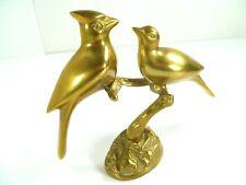Vintage Cardinals Figurine Solid Brass Pair Love Birds Korea By Leonard Silver