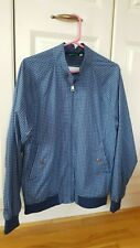 BEN SHERMAN men's M medium BLUE 60s GEO printed HARRINGTON jacket zip & pockets