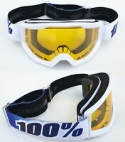 100% PERCENT STRATA MOTOCROSS BIKE GOGGLES EQUINOX WHITE with YELLOW TINT LENS