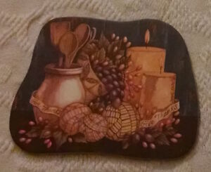 Coaster - 'Give Thanks' Coaster with a Cornucopia and Candles.