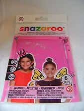 NEW SNAZAROO 6 PINK FACE & BODY PAINT STENCILS BUTTERFLY CROWN FAIRY GIRLS