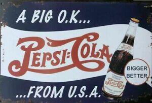 PEPSI Rustic Metal Tin Sign. Vintage Rustic Garage,  Bar & Man Cave
