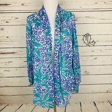 Oscar de la Renta Vintage Kimono Swim Cover Up Open Tunic Tropical Floral OS