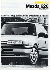 MAZDA 626 LX GLX GT listino prezzi 10/88 dotazione 1988 dati tecnici prezzi