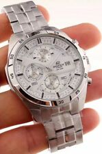 NEW MENS CASIO EDIFICE EF556 SERIES PURE WHITE DIAL STAINLESS STEEL WATCH w/TAG