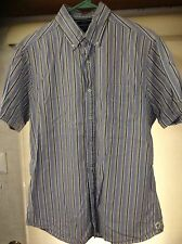 Mens Daniel Cremieux Striped Dress Shirt Size L Short Sleeve